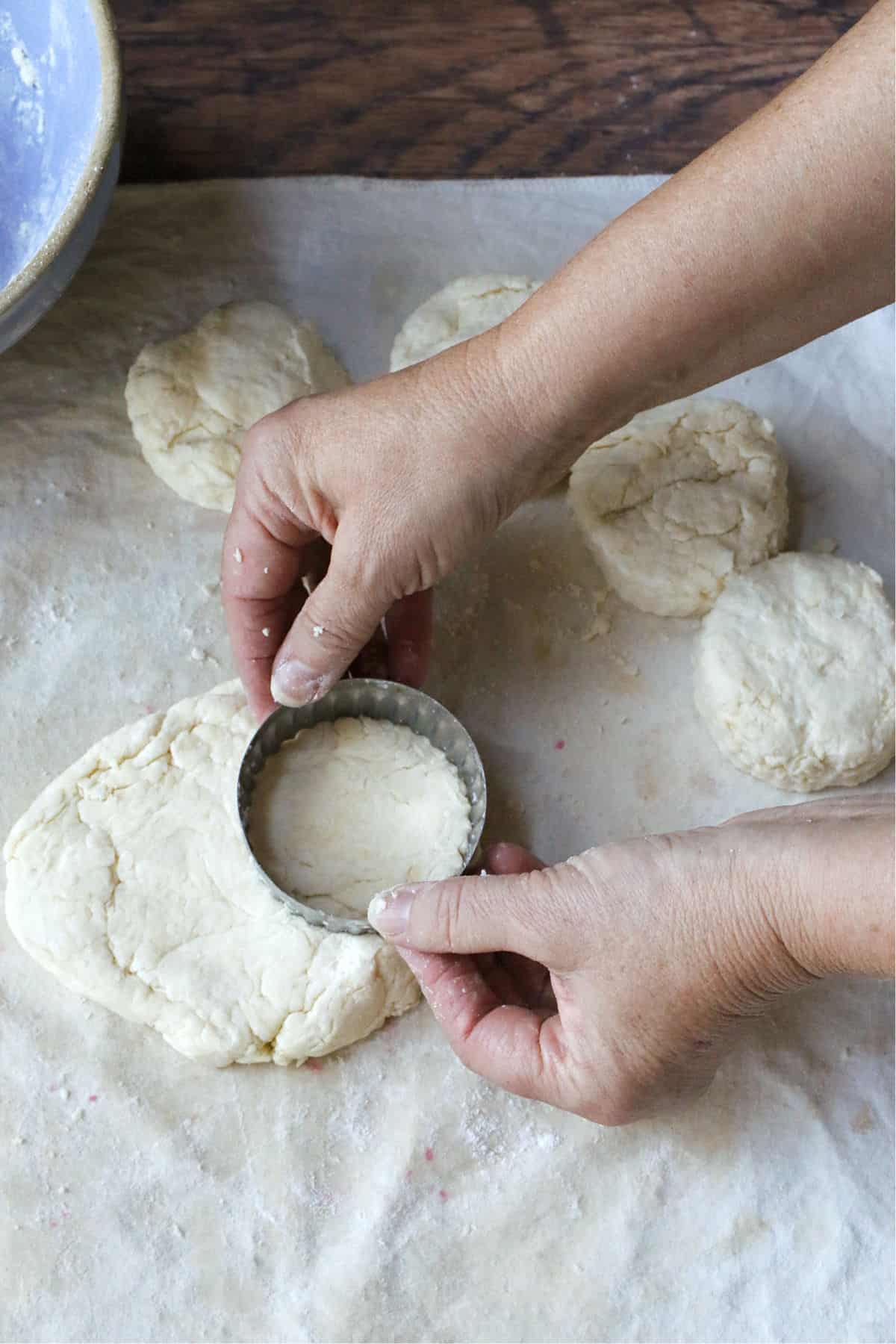 Cutting biscuit dough in rounds