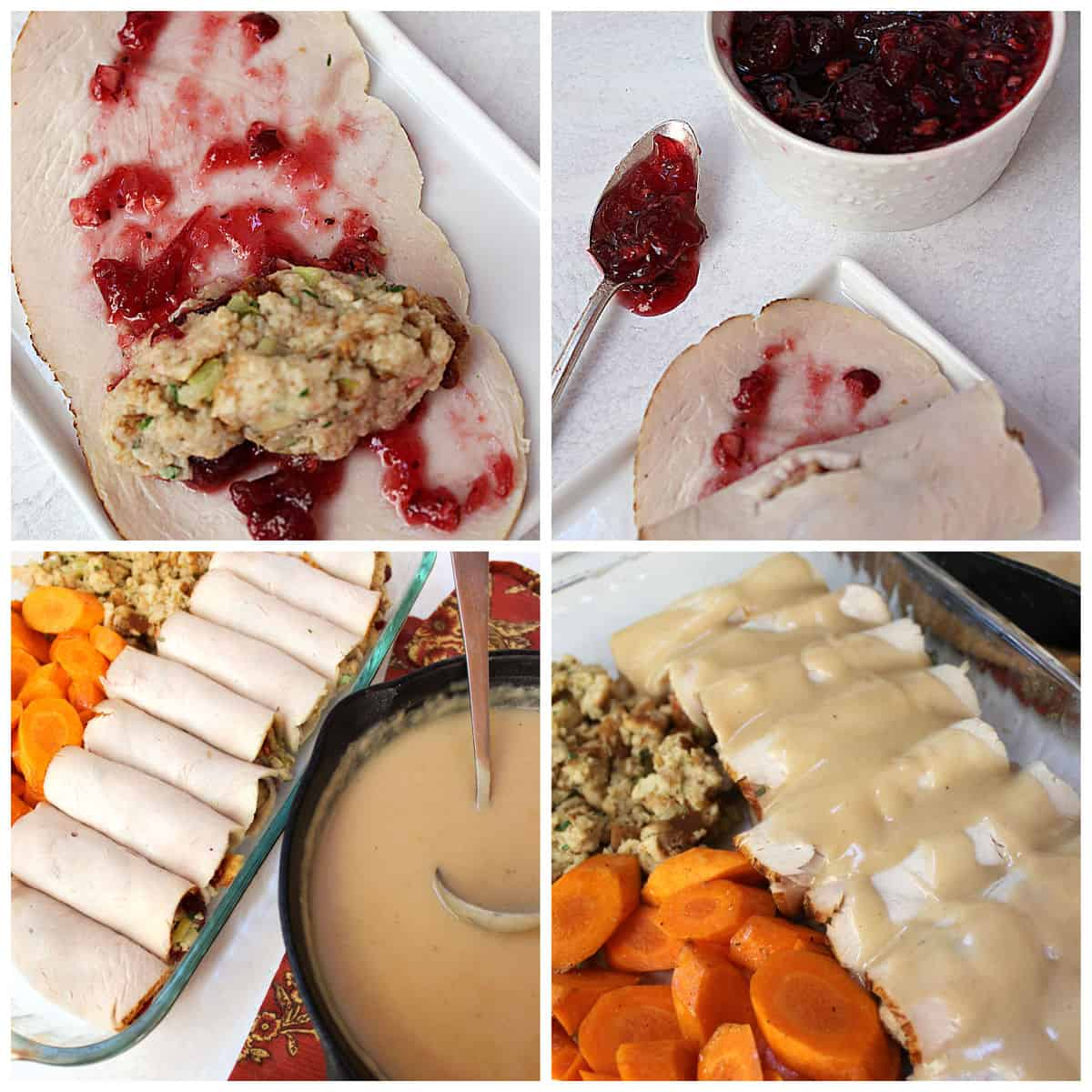 A collage of picture for how to make turkey roll-ups