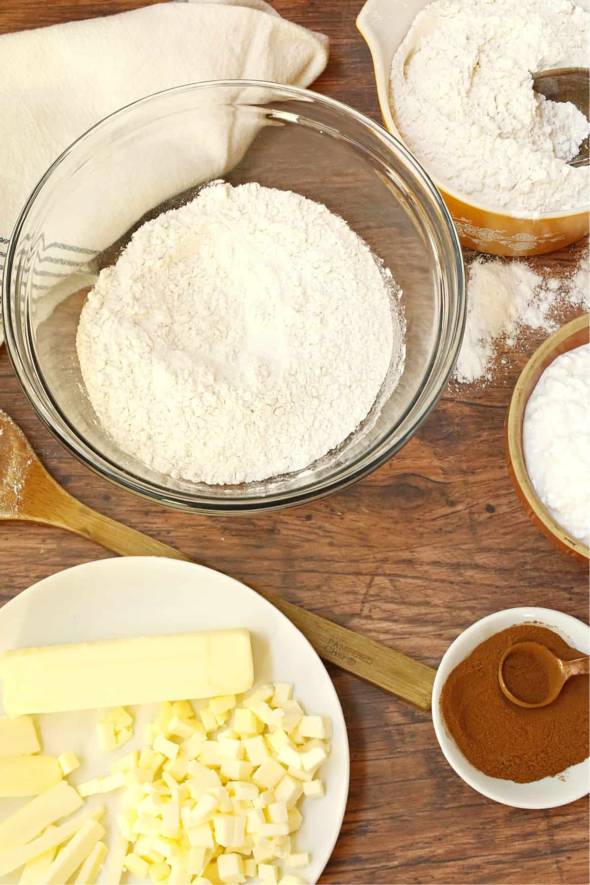 butter, flour, cottage cheese and cinnamon ingredients for rolls