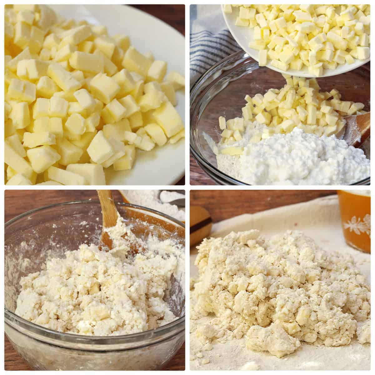 mixing the dough batter with flour,butter and cottage cheese
