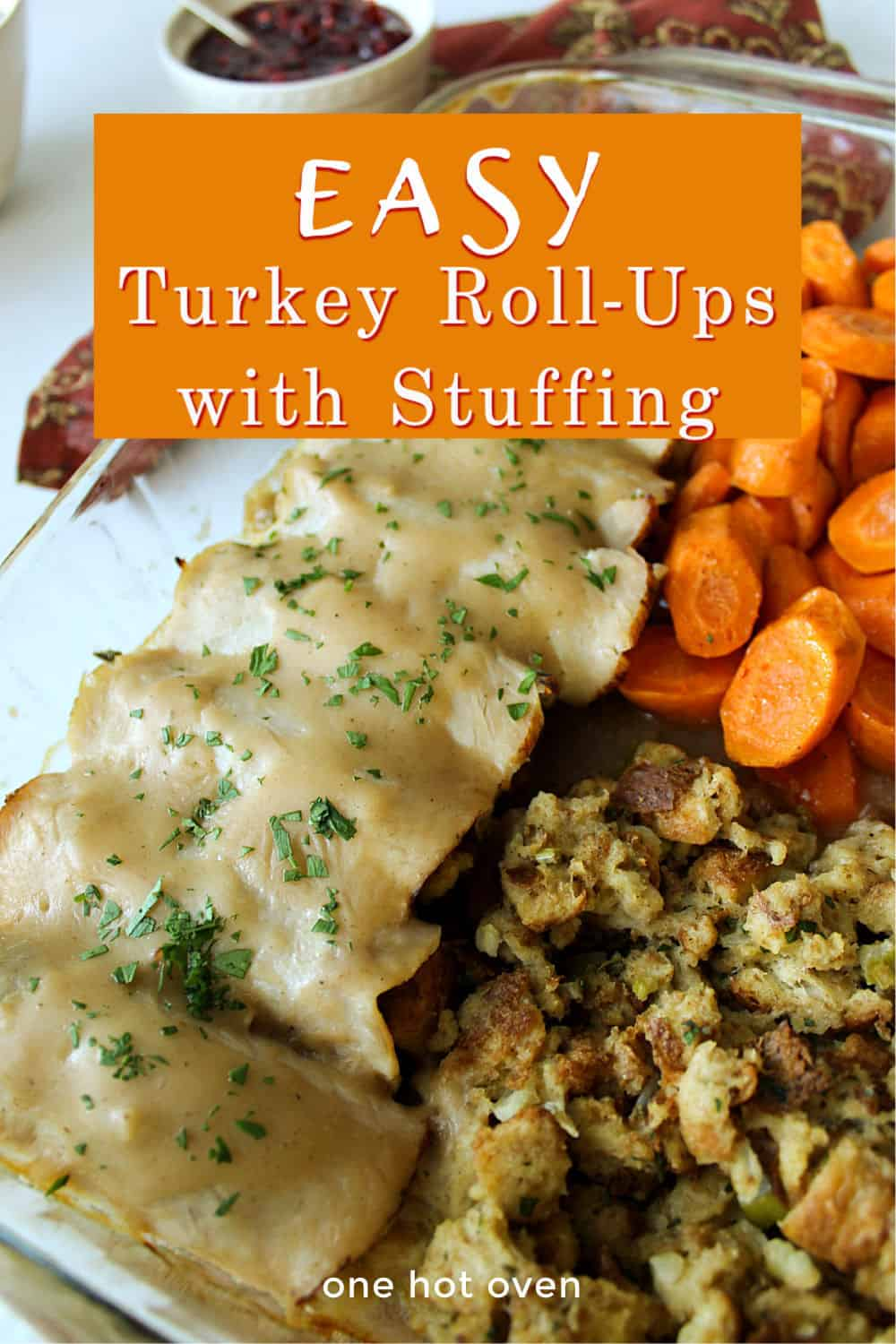 Turkey roll-ups with stuffing and cranberry sauce