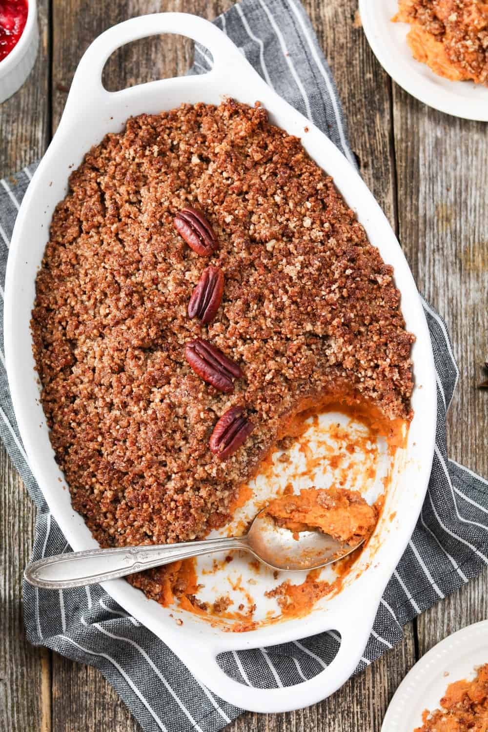 Vegan Sweet Potato Casserole with streusel topping