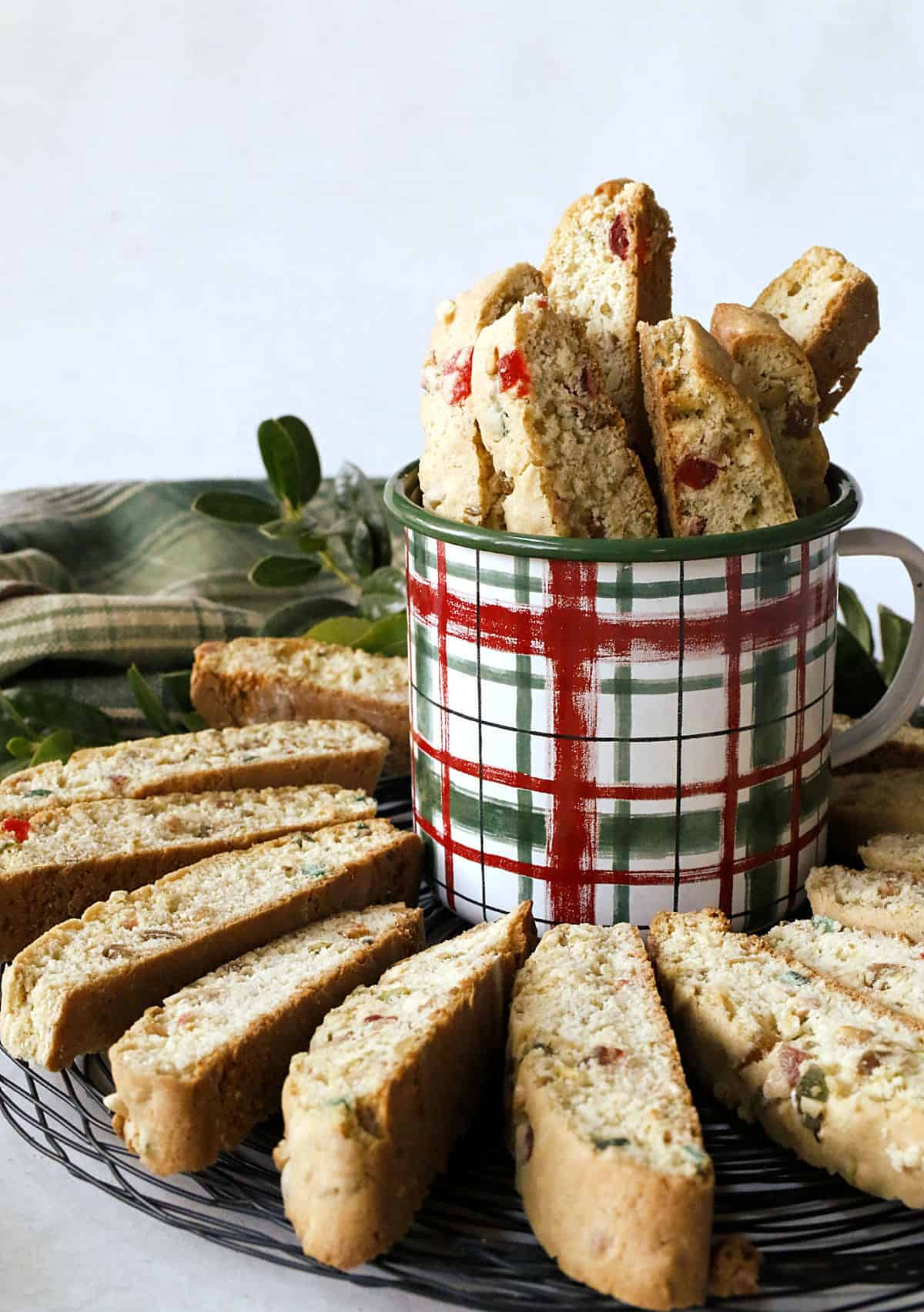 Jeweled Holiday Biscotti in a Christmas cup
