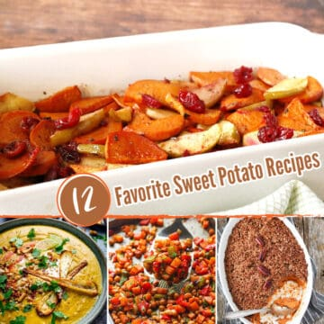 Four images of sweet potato recipes.