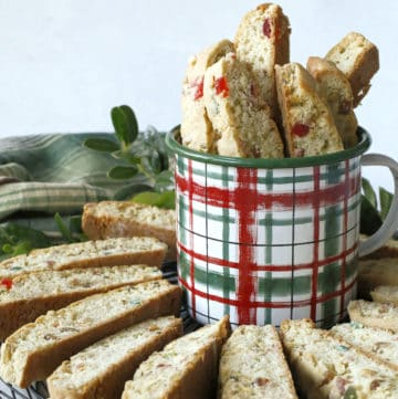 Biscotti cookies in a Christmas mug