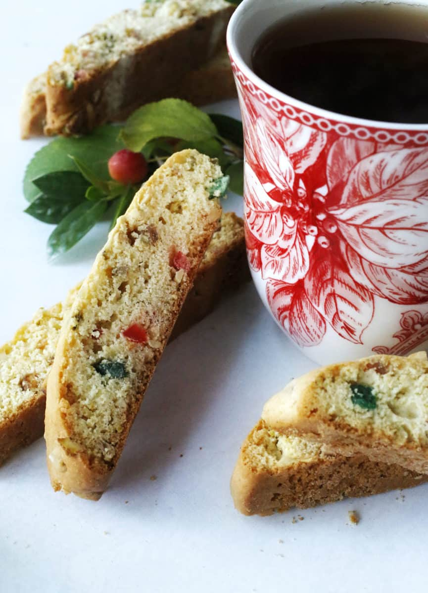 tea and fruit and nut biscotti