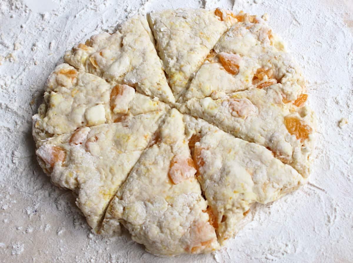 orange scones cut into triangles.