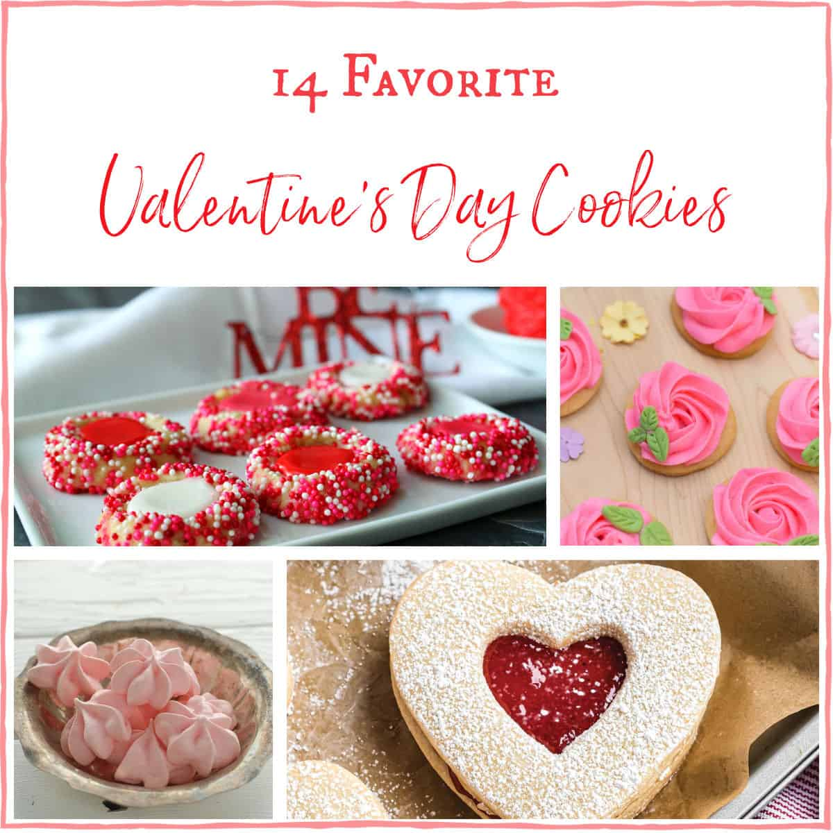 A collage with four pictures of Valentines Cookies.