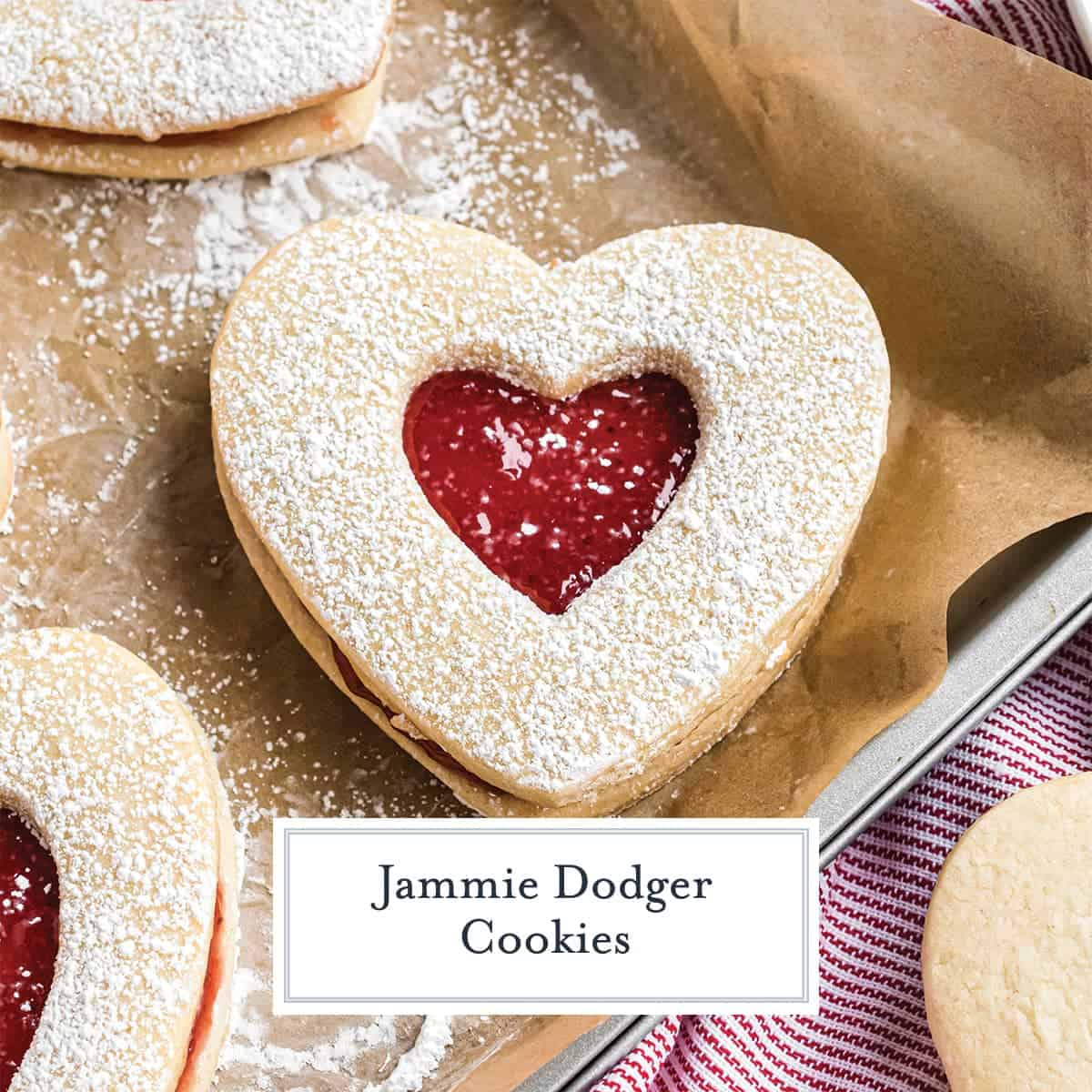 Jammie Dodger Cookies with raspberry jam.