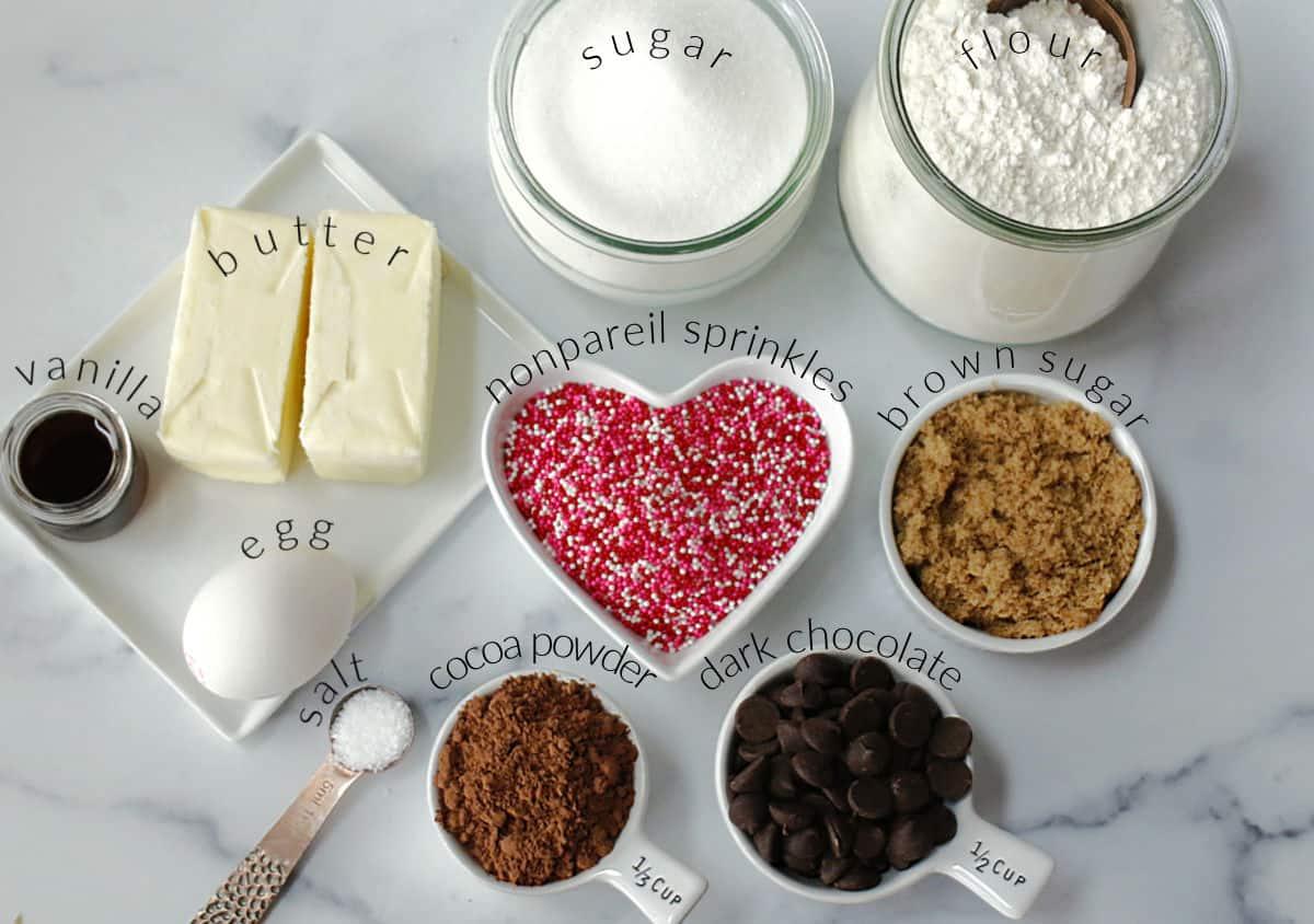 Ingredients to make dark chocolate shortbread cookies.