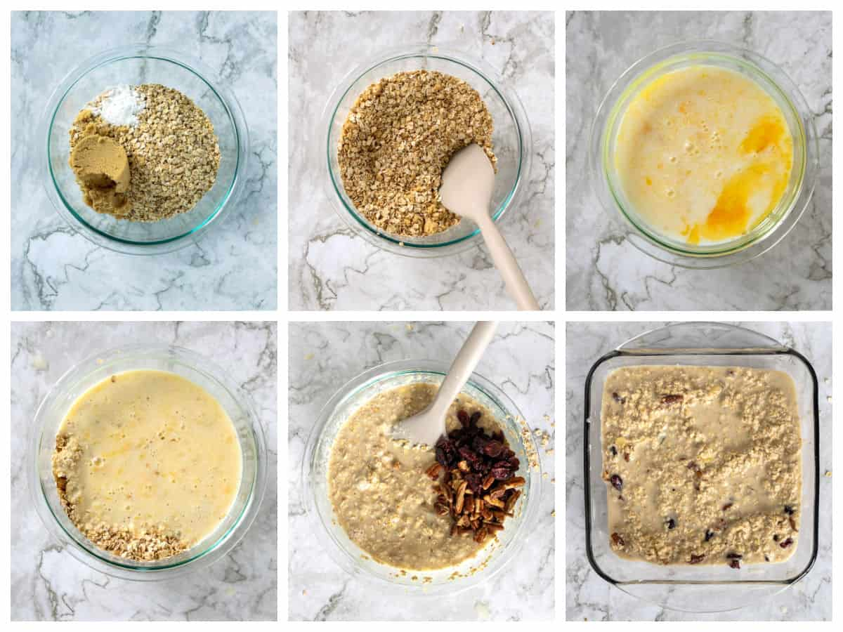 Steps for making baked oatmeal from mixing the ingredients to pouring it into a baking dish.