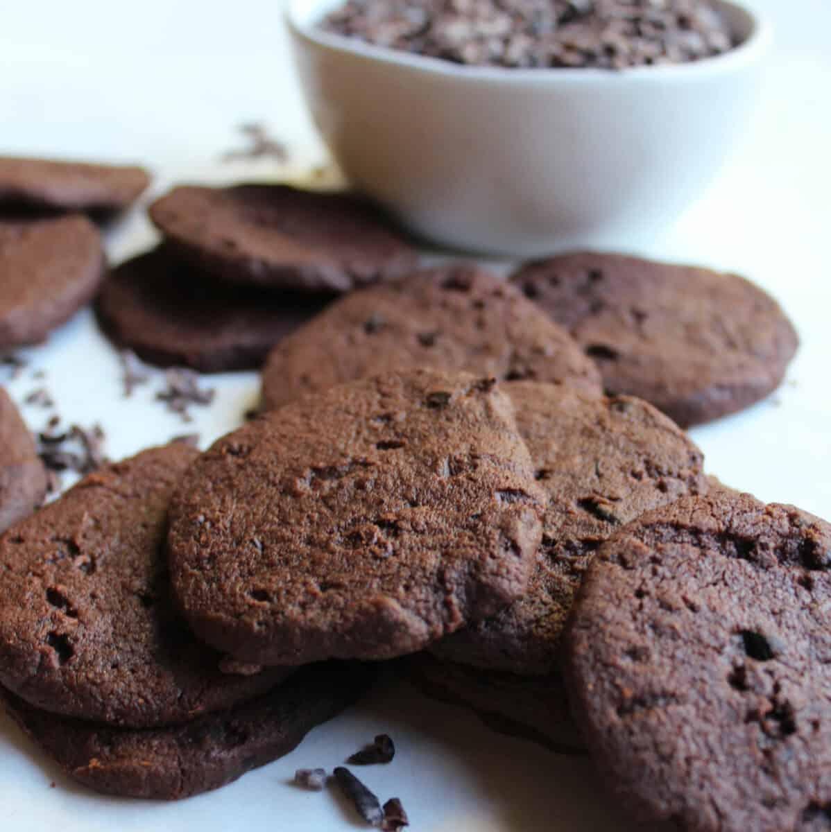 chocolate cacaco nib cookies.