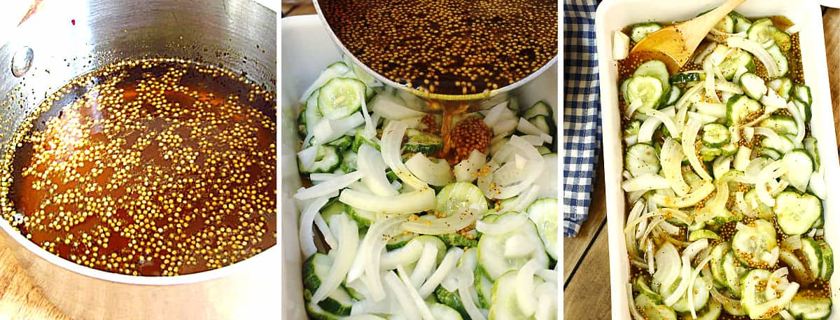 Making pickling brine and pouring it on cucumbers.