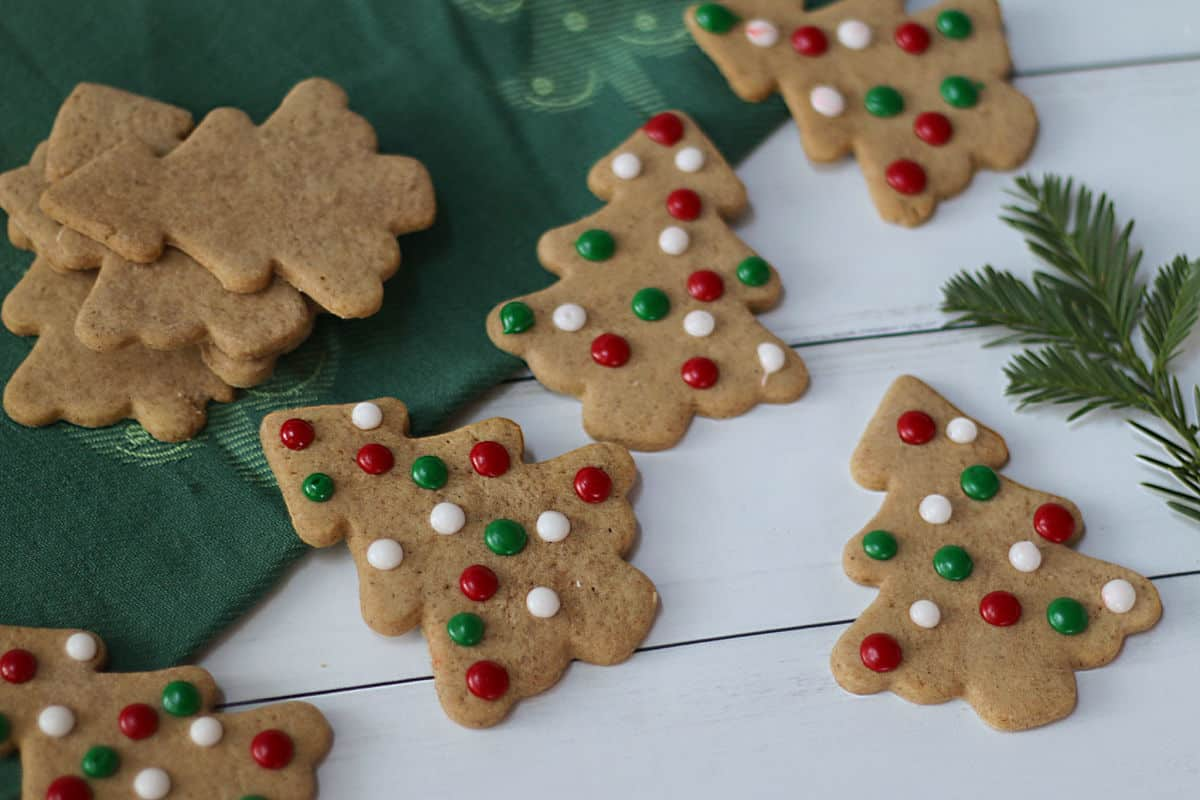 Christmas tree cookies with red, green and white dots.