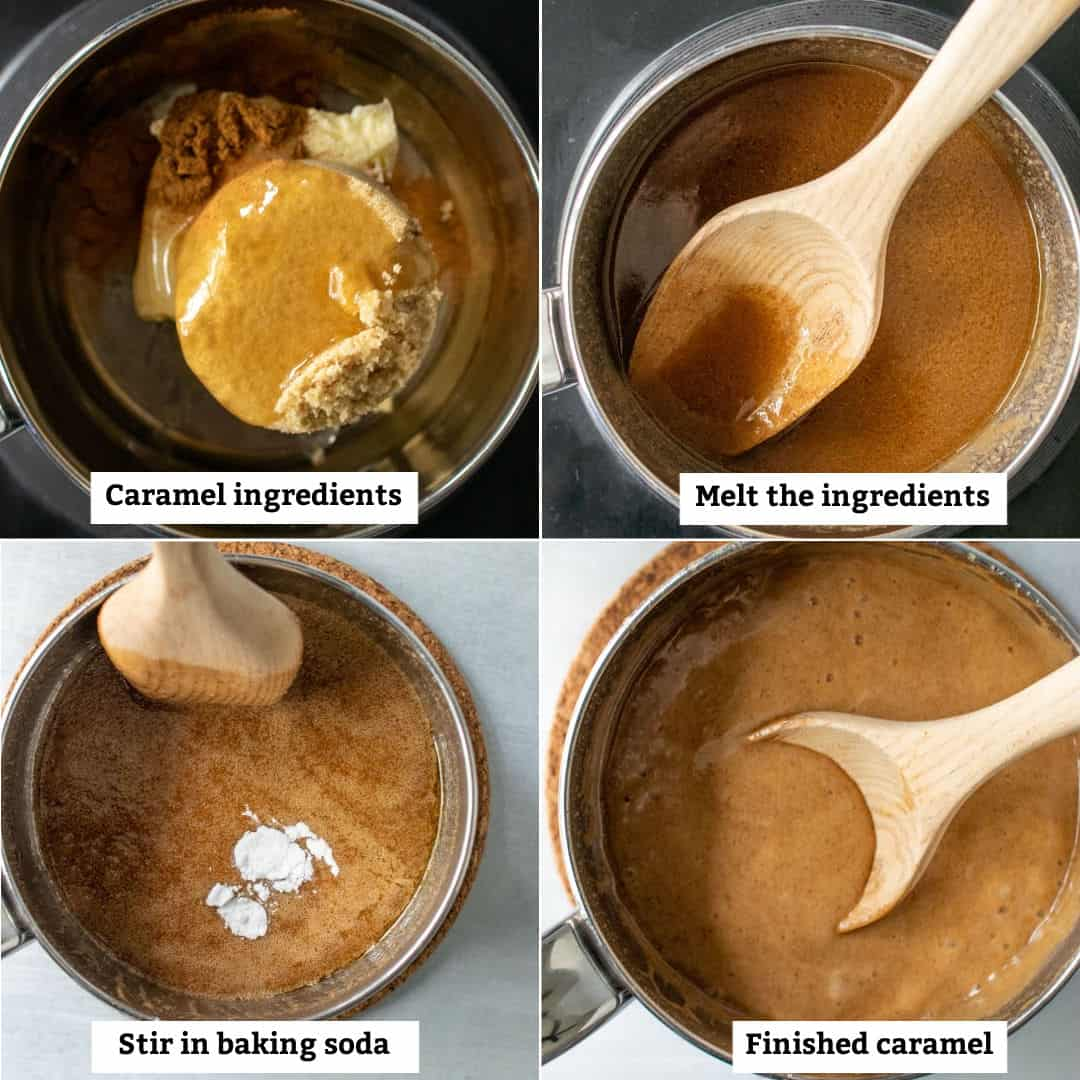 Steps for making homemade caramel sauce on the stovetop.