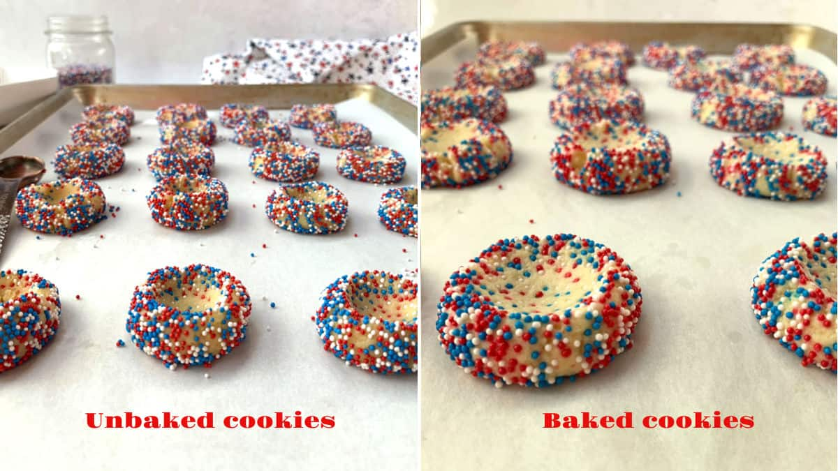 An image of unbaked thumbprints cookies and baked cookies.