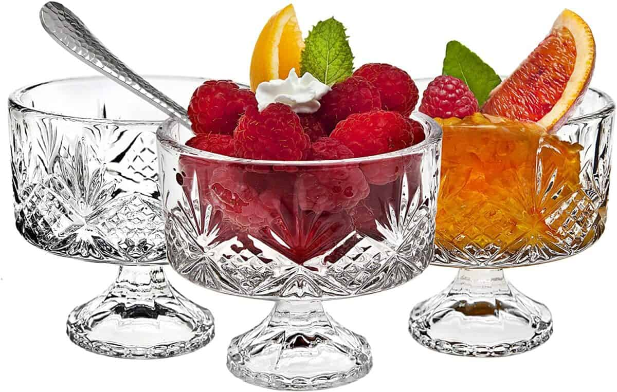 Clear glass footed dessert dishes.
