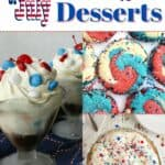 Ice cream, cookies and pie for 4th of July desserts.
