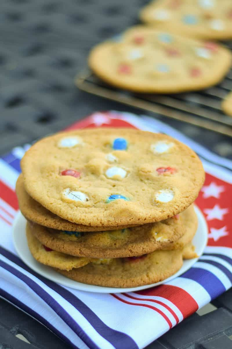 A stack of red, white and blue M&M cookies.