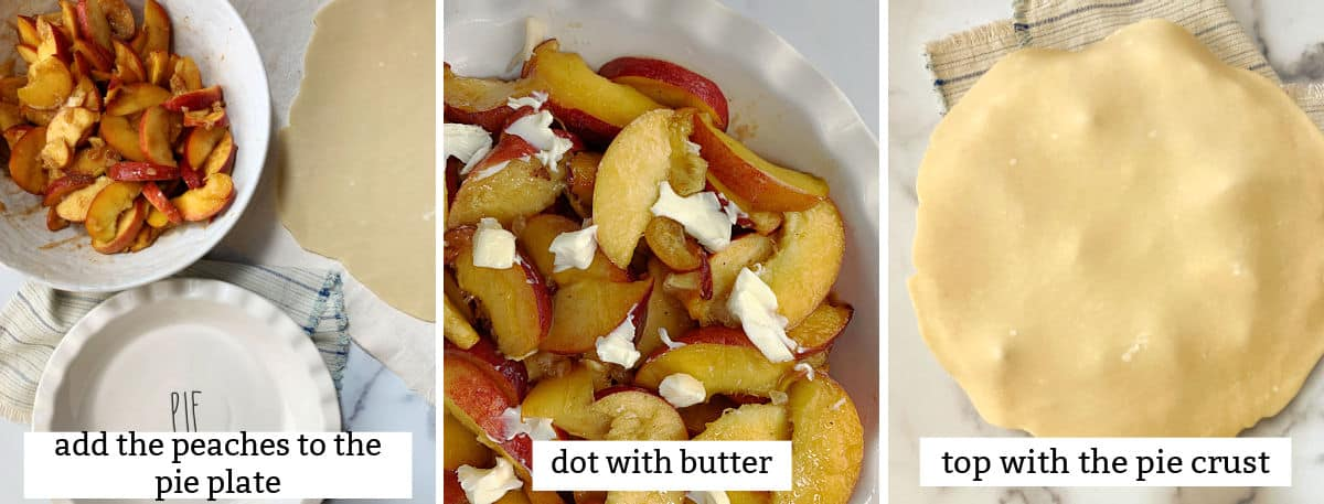 Adding peaches to a pie plate and topping with a crust.