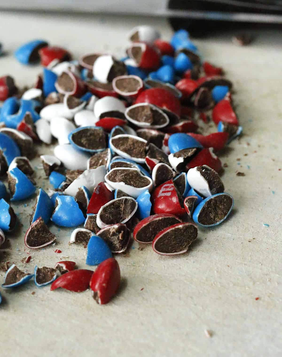 Chopped red, white and blue M & M's.
