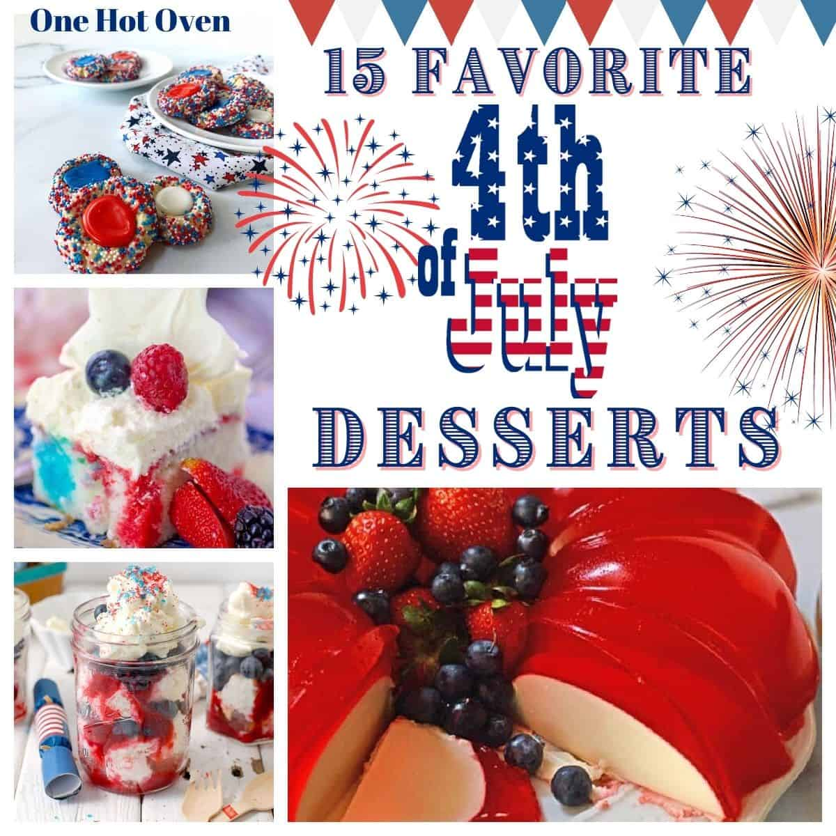 Four July 4th desserts, cakes, cookies, jello, trifle.