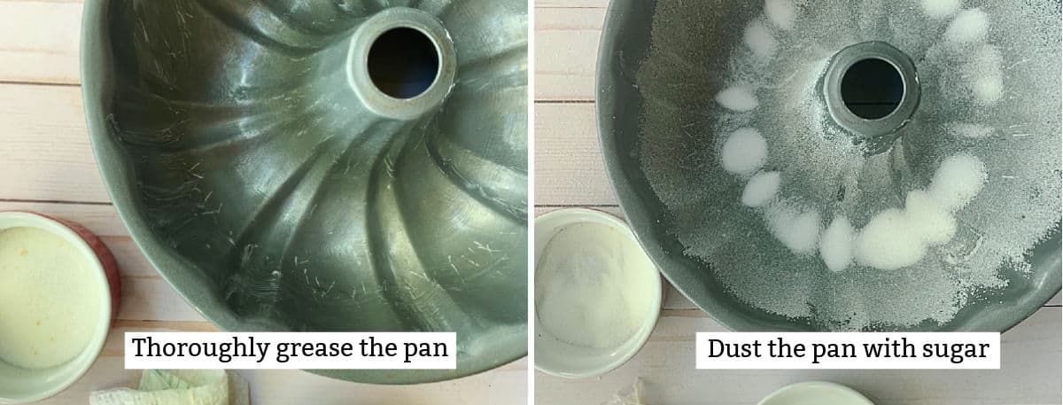 Greasing a bundt pan and sprinkling it with sugar.