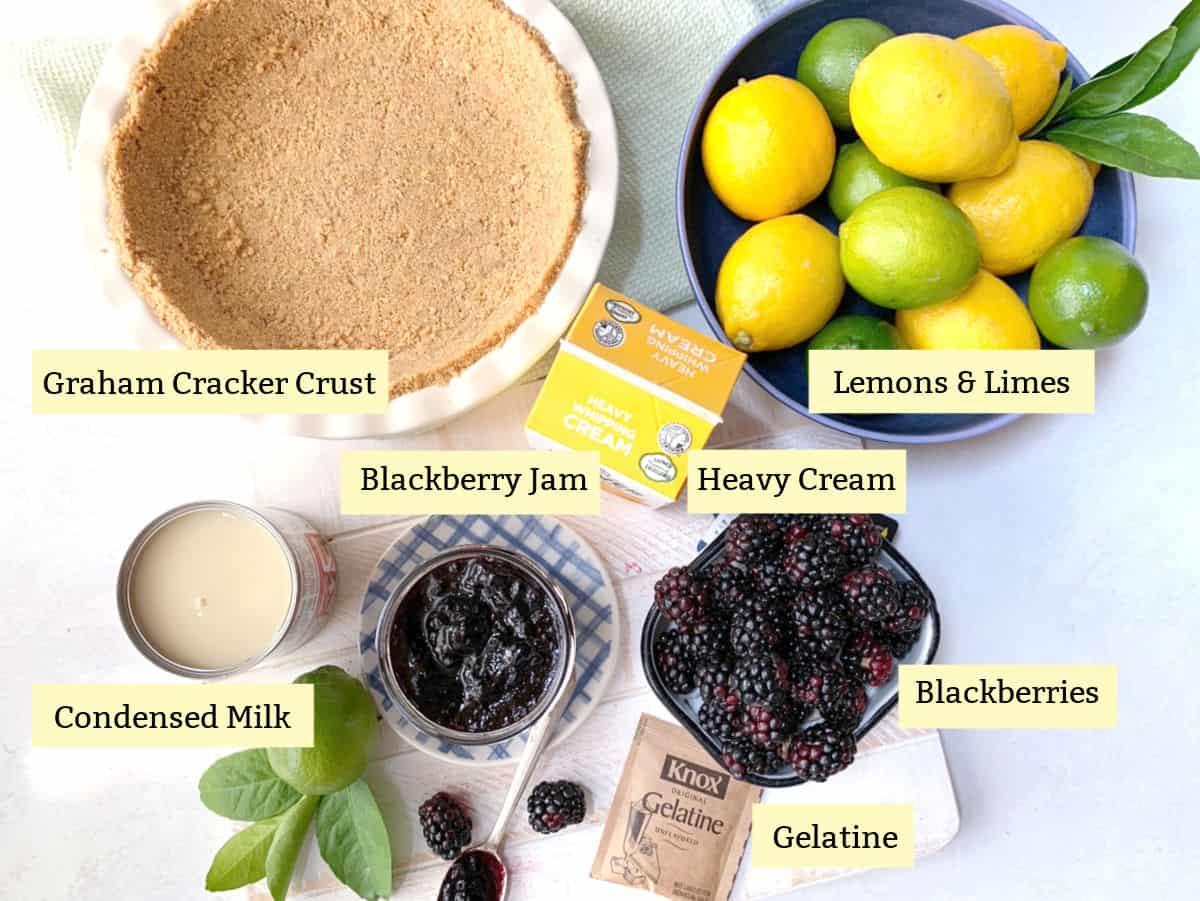 Graham crust, lemons, limes, blackberries, cream and gelatine.