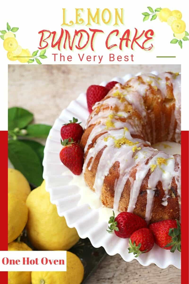 A lemon bundt cake with strawberries on a white plate