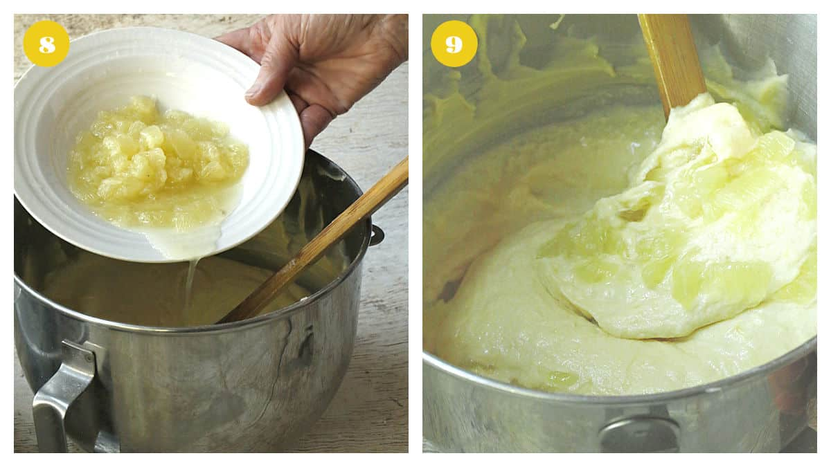 Adding lemon pieces to cake batter in a silver bowl.