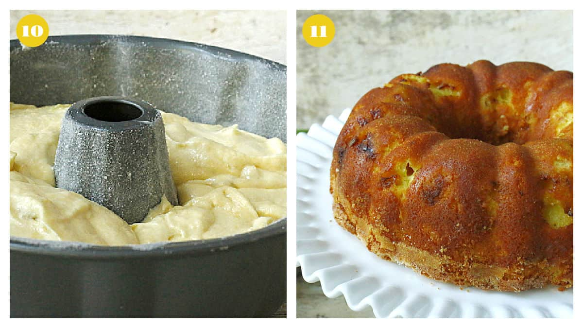 Lemon cake batter in a bundt pan and the baked cake on a white stand.