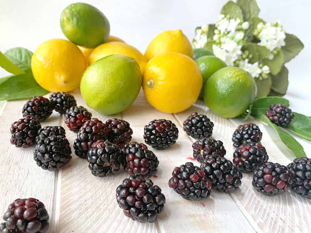 A white board with fresh blackb berries, lemons, limes and white flowers.