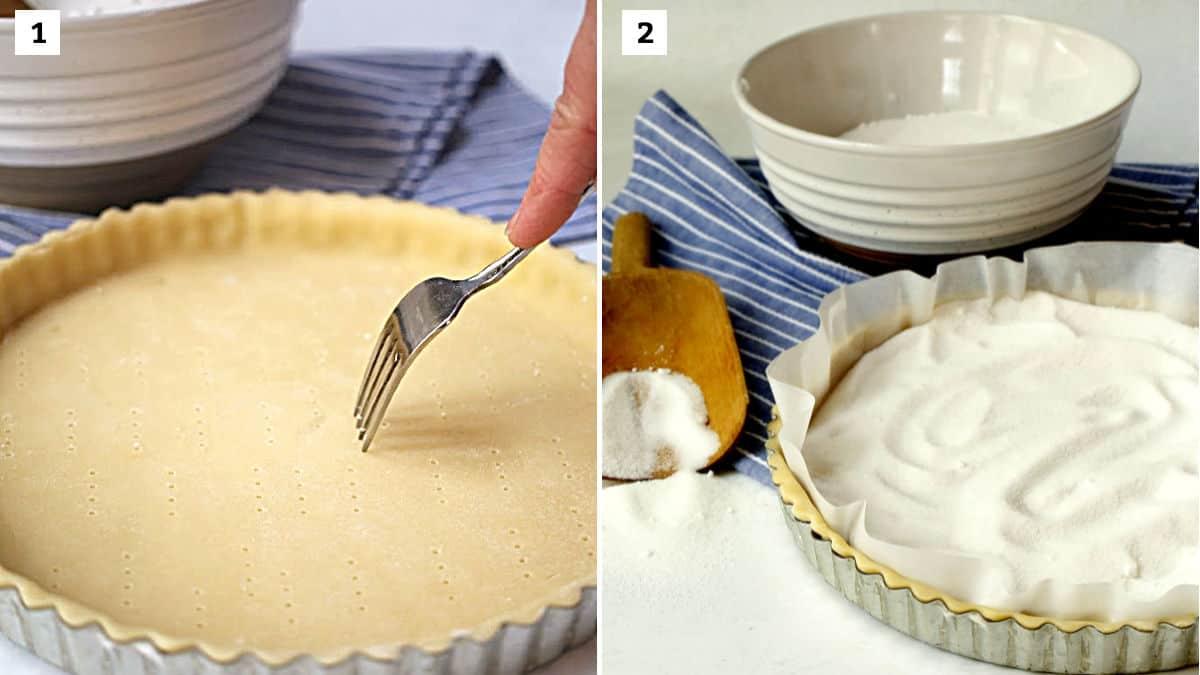 Pricking a tart crust and sugar in a tart crust.