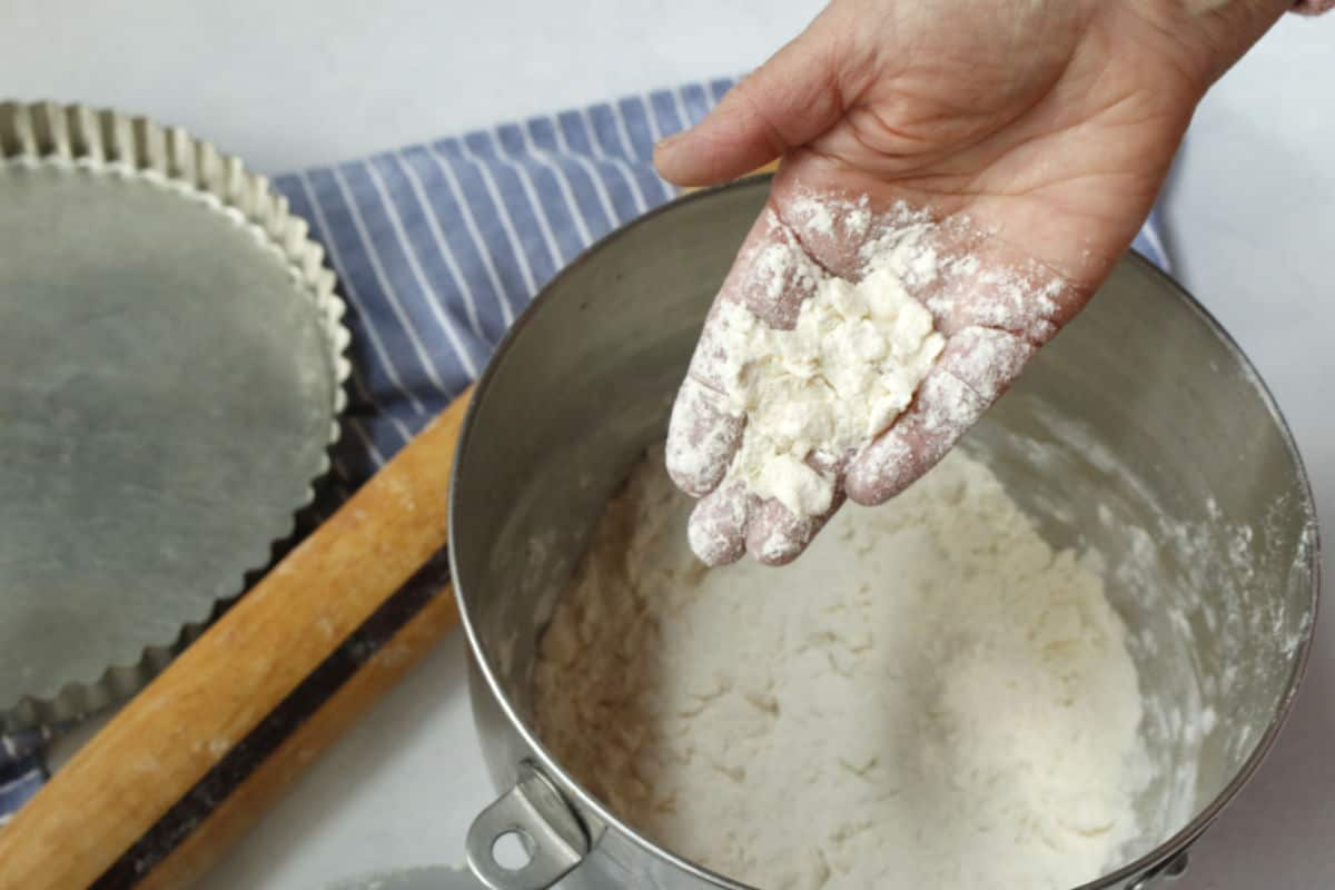 Flour with butter mixed into small pieces.