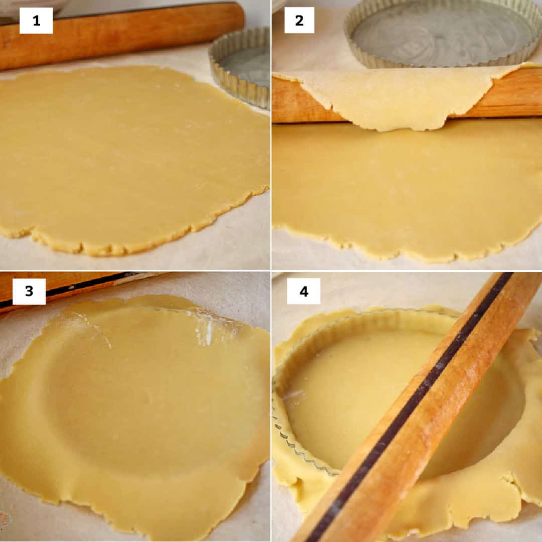 Rolling out tart dough and placing it in a tart pan.