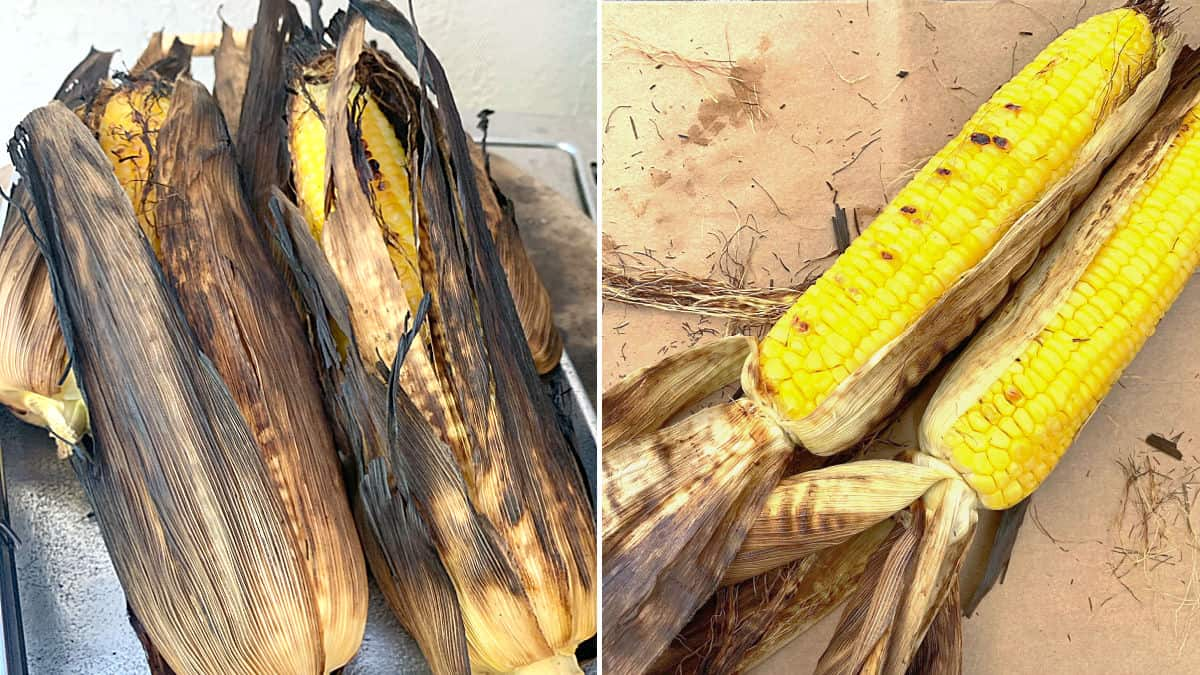 Pictures of just grilled corn on the cob.
