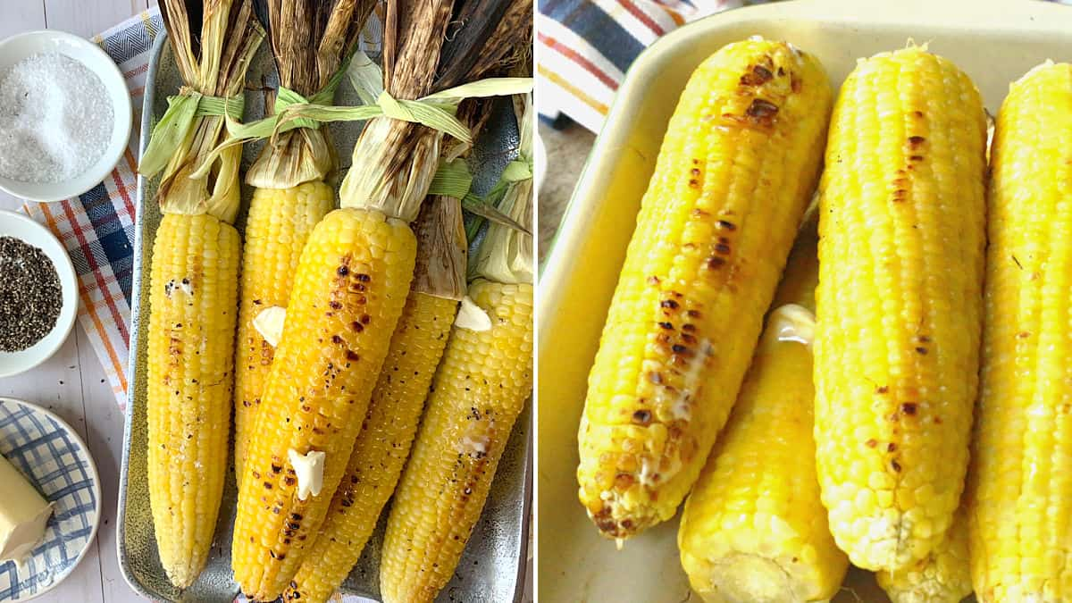 Grilled corn on the cob with the husks on and with the husks off.
