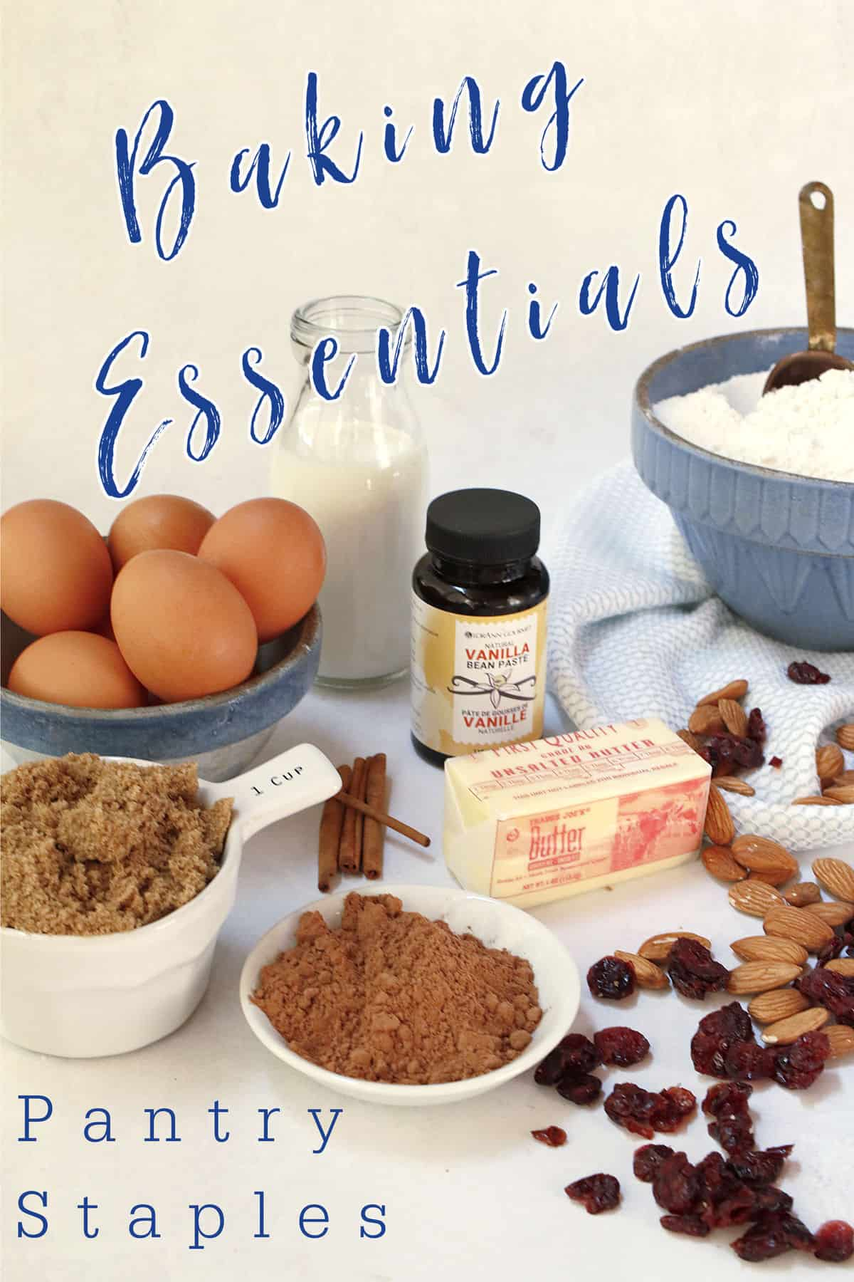 A picture showing baking essentials for your pantry